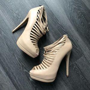 Bebe Strappy Peep Toe Heels